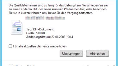 Die Quelldateinamen sind zu lang für das Dateisystem…