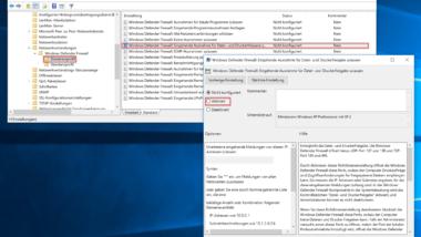 Windows Firewall per Gruppenrichtlinie konfigurieren (Datei – und Druckerfreigabe)