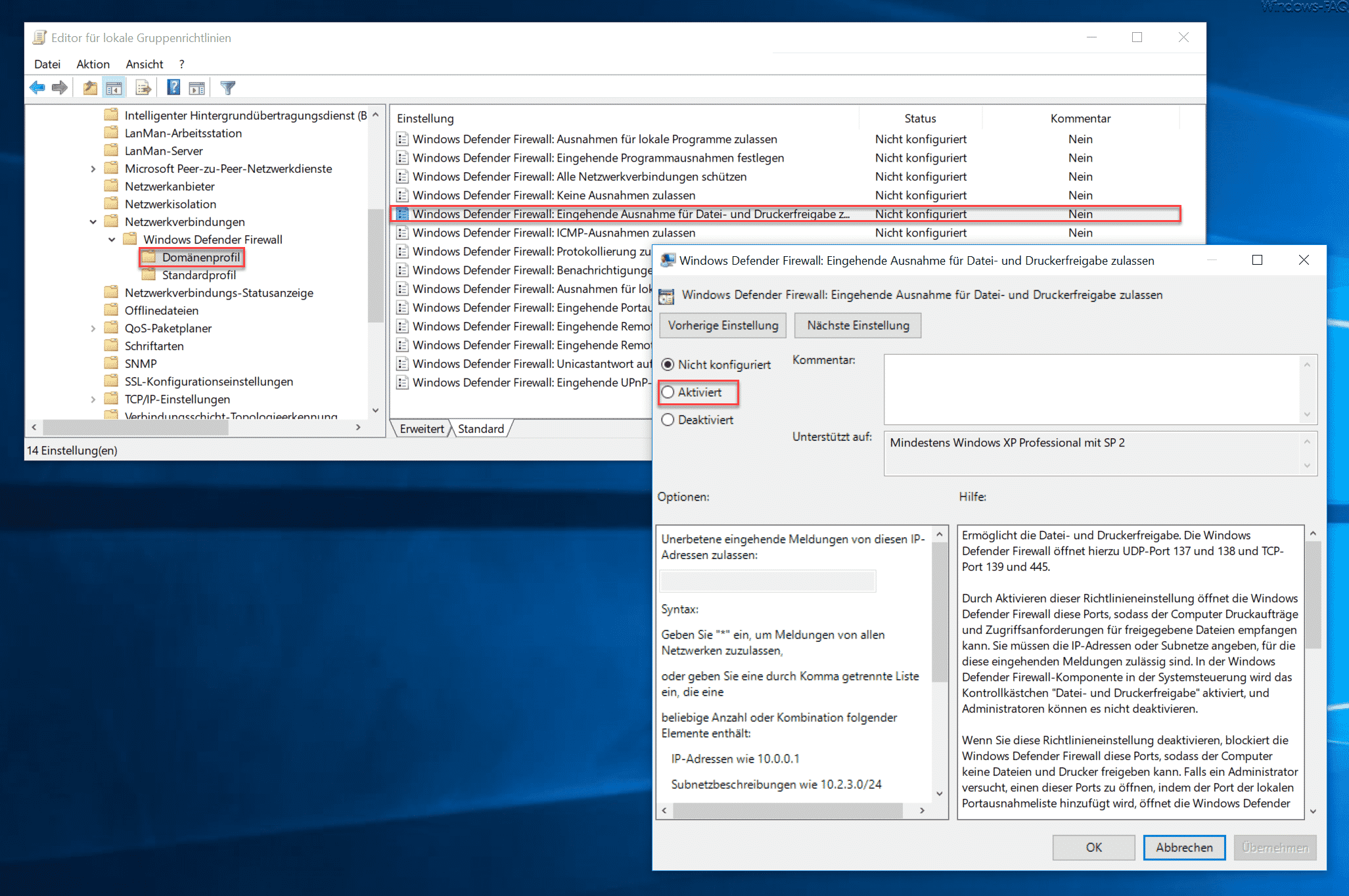 Windows Defender Firewall Eingehende Ausnahme für Datei- und Druckerfreigabe zulassen