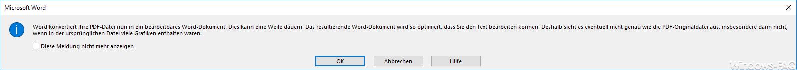 Word konvertiert Ihr PDF-Datei
