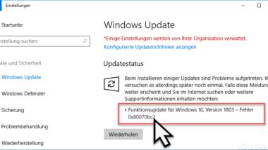 0x80070bc2 Fehlercode beim Windows Update