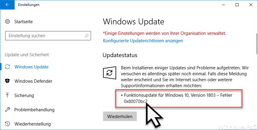 0x80070bc2 Fehlercode beim Windows Update » Fehlercode, Installation