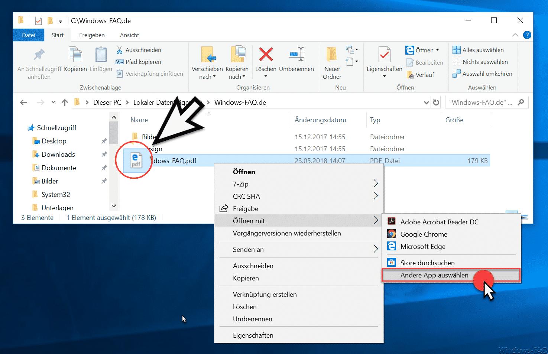 Andere PDF-App auswählen