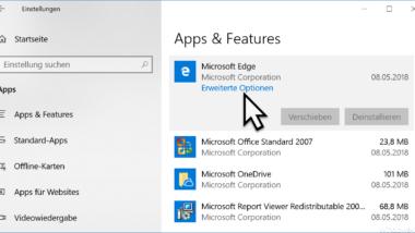 Microsoft Edge Browser beenden, zurücksetzen oder reparieren