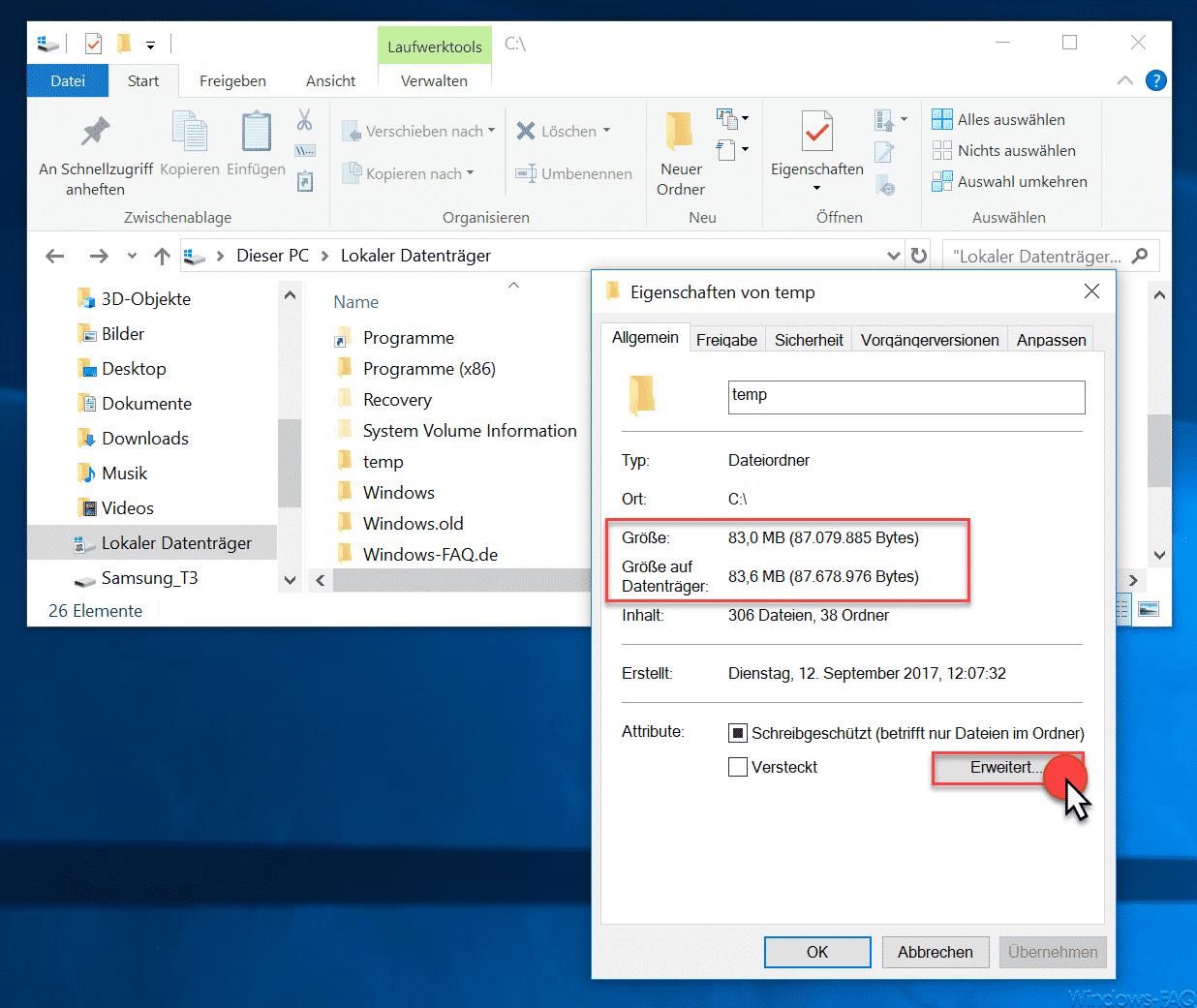 Eigenschaften eines Ordners im Windows Explorer