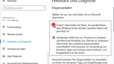 Windows 10 Diagnosedaten – Versand von Daten an Microsoft deaktivieren