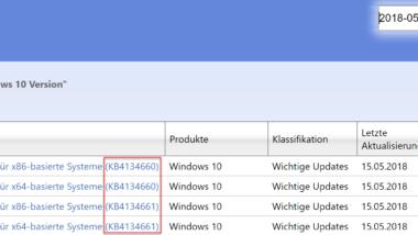 KB4134660 für Windows 10 Version 1703 und KB4134661 für 1709 erschienen
