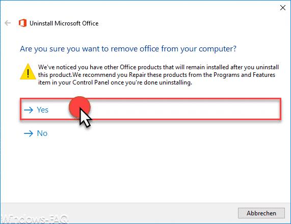 Möchten Sie wirklich Office von Ihrem Computer deinstallieren