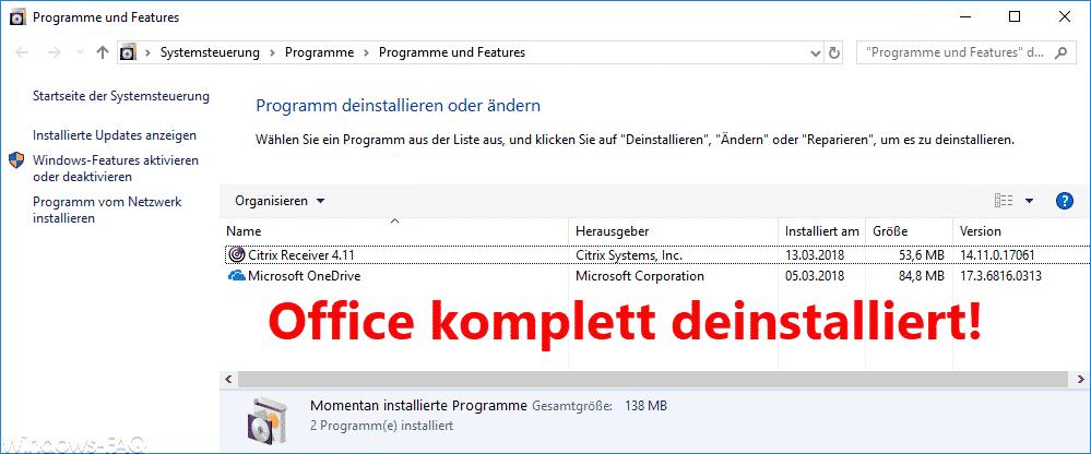 Office Installationen komplett deinstallieren