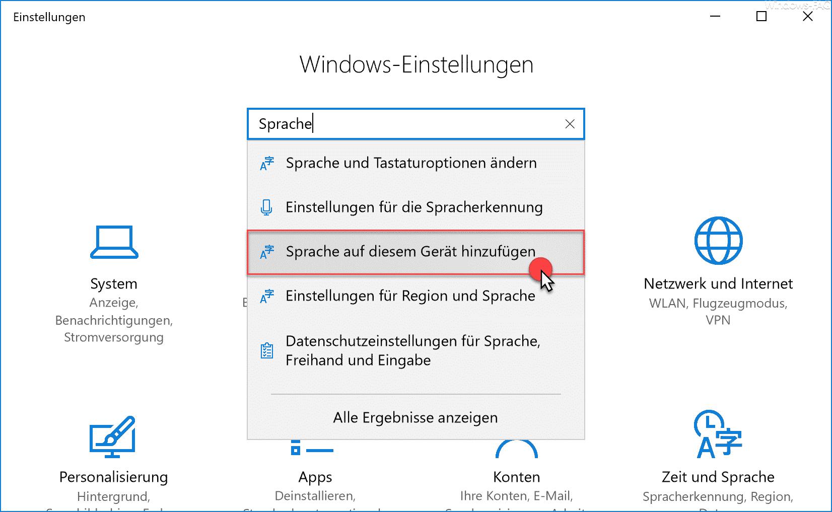Sprache auf diesem Gerät hinzufügen