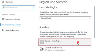 Zusätzliche Sprache installieren unter Windows 10