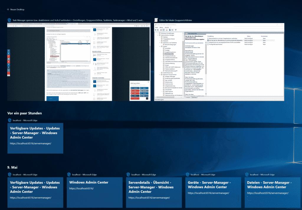 Taskansicht Windows 10 1803