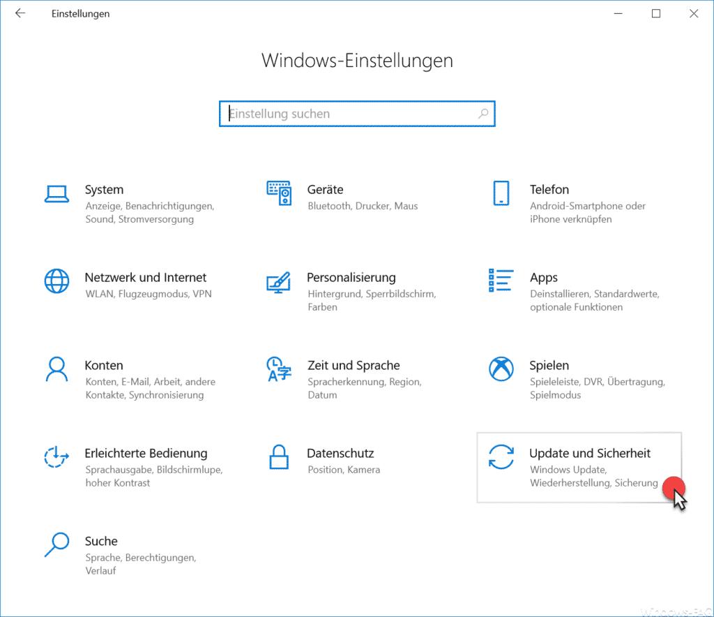 Update und Sicherheit Windows 10