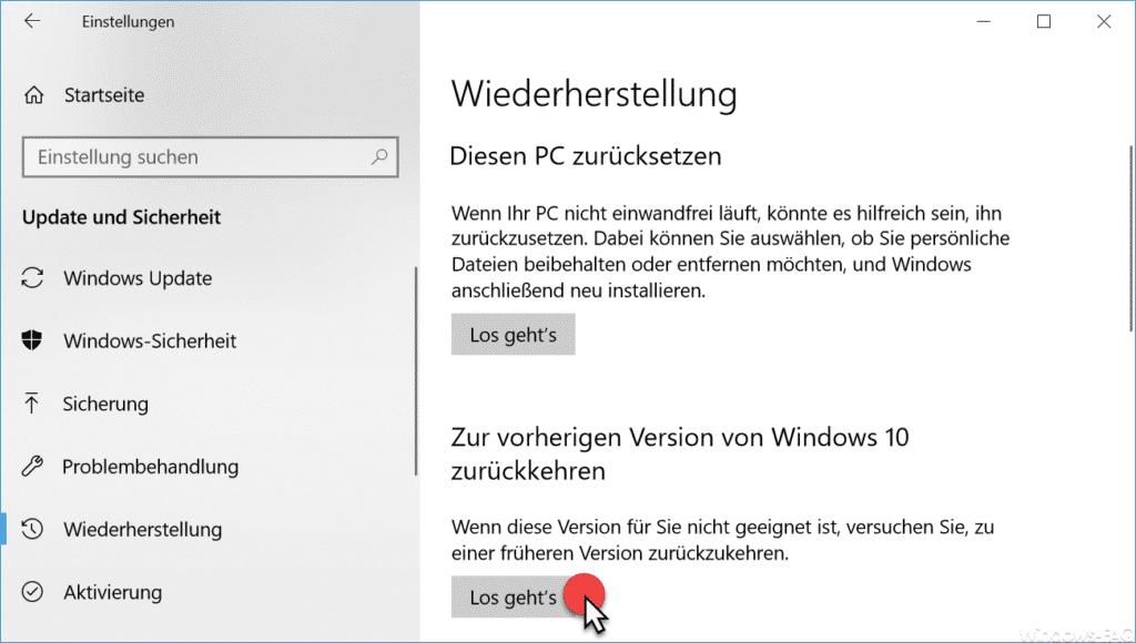 Vorherige Windows 10 Version wiederherstellen