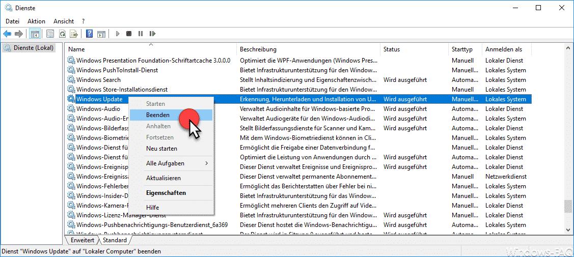 Windows Update Dienst beenden
