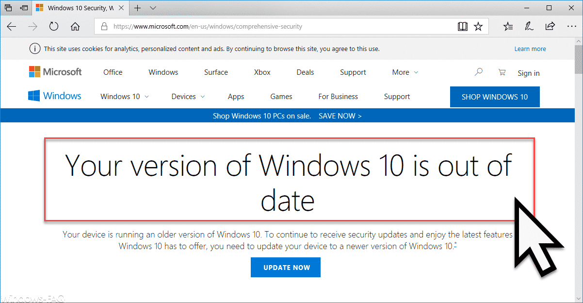 Your version of Windows 10 is out of date