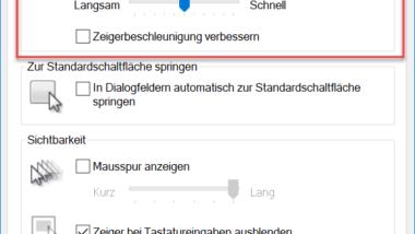 Geschwindigkeit des Mauszeigers unter Windows 10 verändern