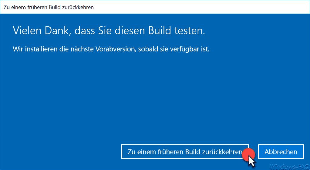 Zu einem früheren Windows 10 Build zurückkehren