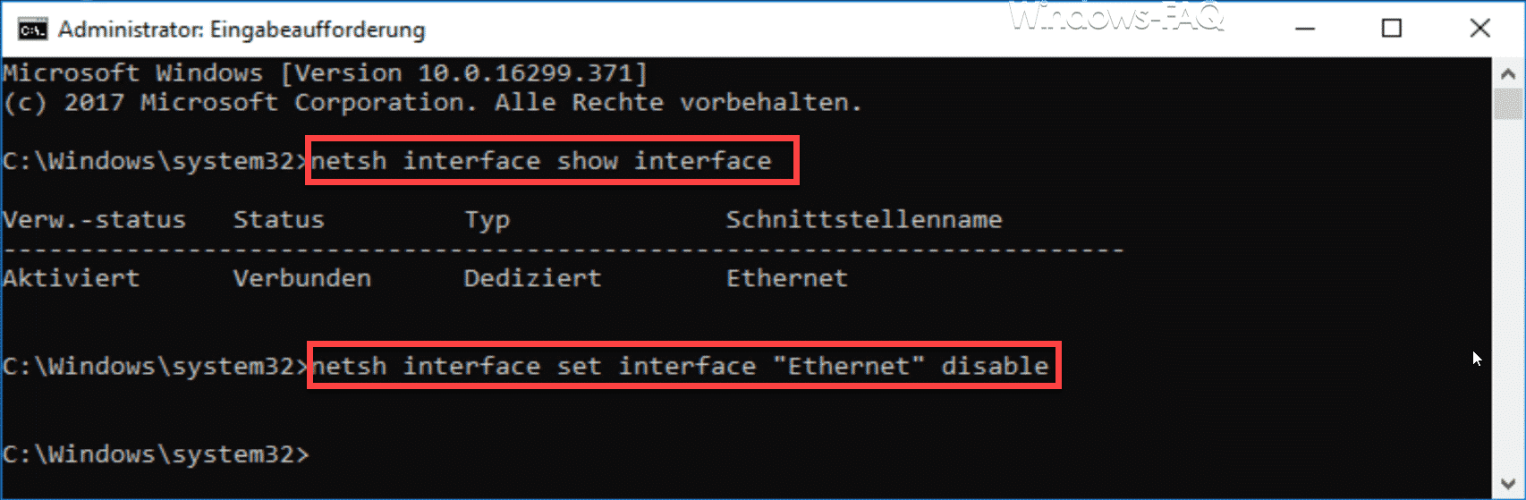 netsh Netzwerkadapter deaktivieren