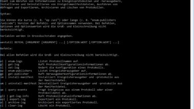 "Windows Ereignisprotokoll per Kommandozeilen Tool ""wevtutil"" bearbeiten"