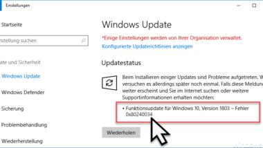 0x80240034 Fehlercode beim Windows Update