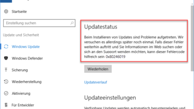 Windows Update Fehlercode 0x80246019