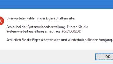 0x81000203 Fehler bei der Windows Systemwiederherstellung