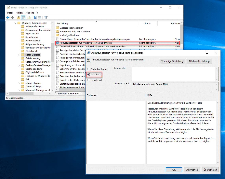 Abkürzungstasten für Windows-Taste deaktivieren