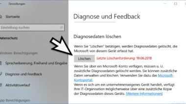 Diagnosedaten löschen bei Windows 10