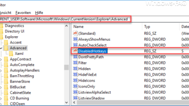 Bestimmte Windows Hotkeys (Tastenkombinationen) deaktivieren