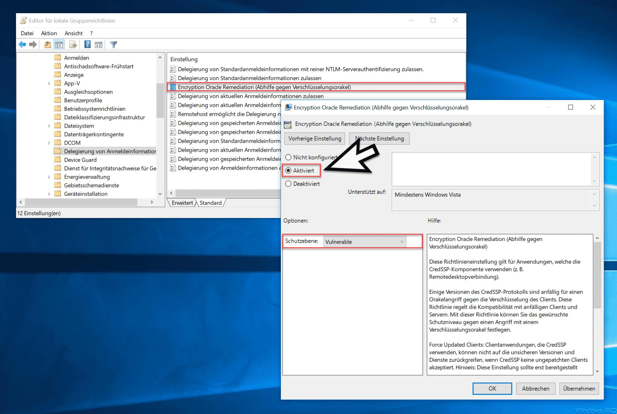 Encryption Oracle Remediation (Abhilfe gegen Verschlüsselungsorakel)