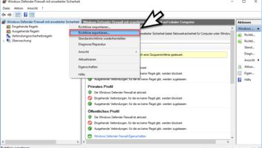 Windows Firewall Regeln exportieren und importieren