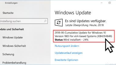Update KB4284848 für Windows 10 Version 1803 erschienen Build 17134.137