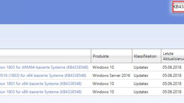 Update KB4338548 für Windows 10 1803 erschienen Build 17134.83