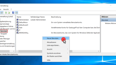 Neues lokales Benutzerkonto unter Windows anlegen