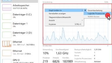 CPU Auslastung der logischen Prozessoren im Windows Taskmanager anzeigen