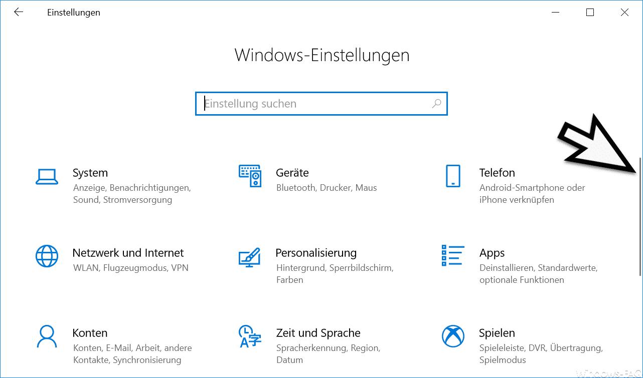 Windows Einstellungen mit kleiner Bildlaufleiste