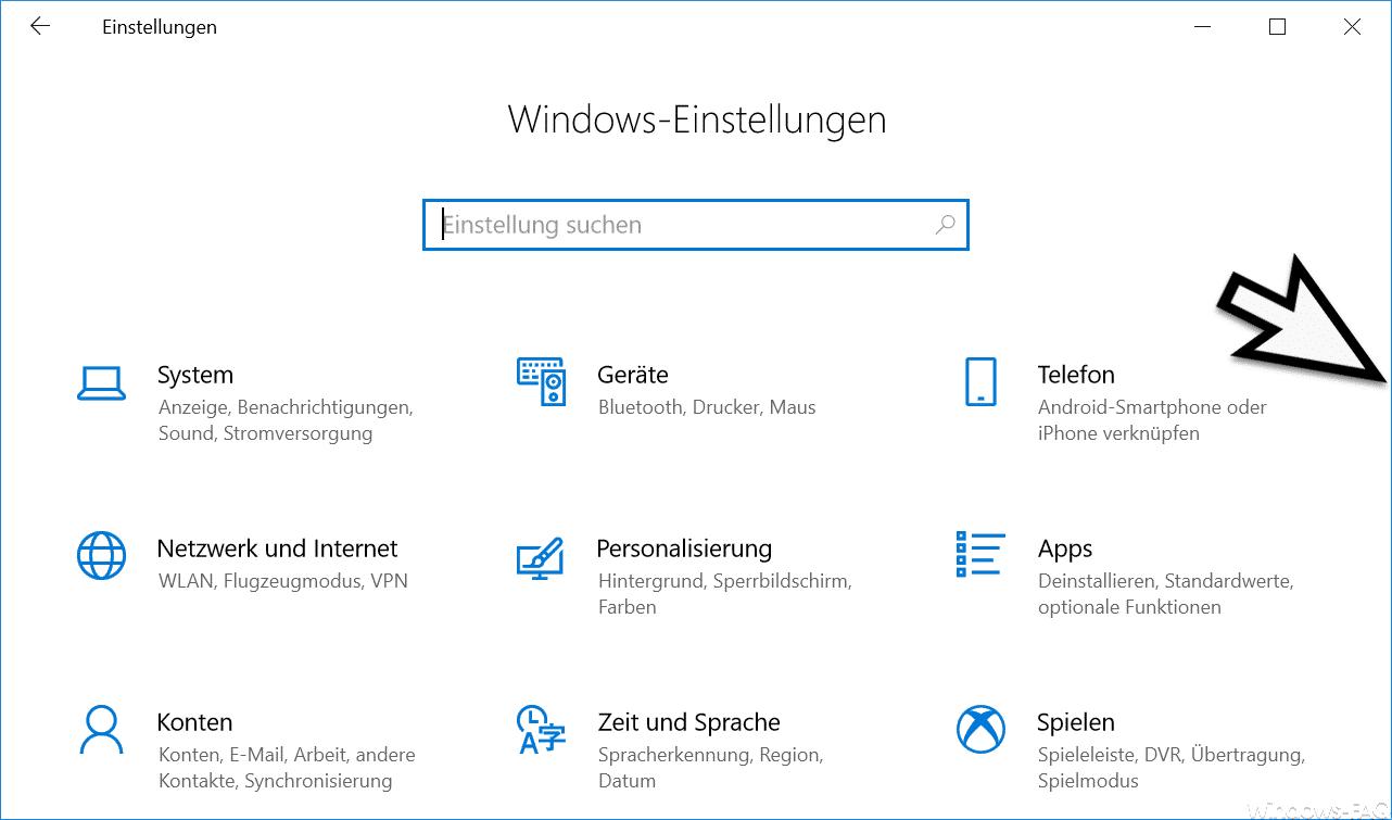 Windows Einstellungen ohne Bildalaufleiste