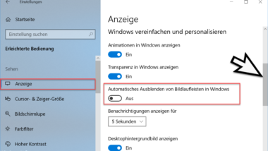 Windows 10 Bildlaufleiste am rechten Rand einblenden oder ausblenden