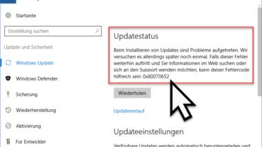 0x80070652 Fehlercode beim Windows Update