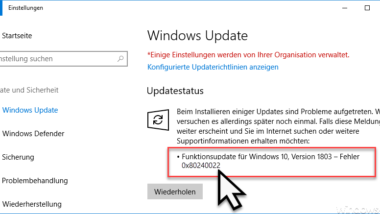 Windows Update Fehlercode 0x80240022