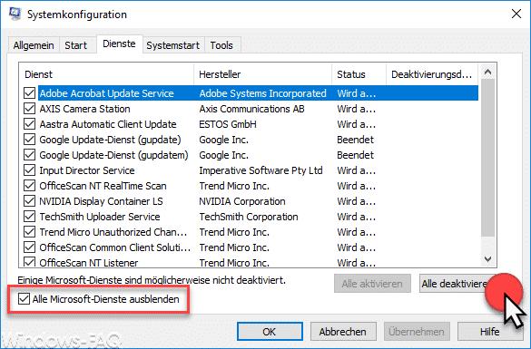 Alle Microsoft Dienste deaktivieren