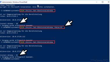 Windows 10 Uninstall Zeitraum von 10 Tagen erhöhen