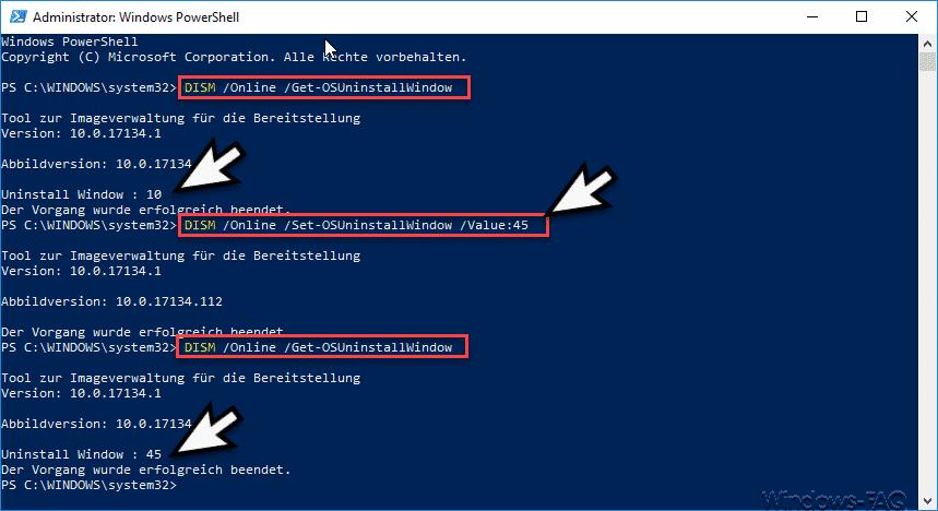 DISM Online Set-OSUninstallWindow Value