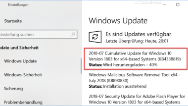 Update KB4338819 für Windows 10 Version 1803 erschienen