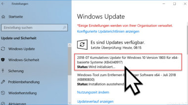 KB4340917 Update für Windows 10 Version 1803 erschienen Build 17134.191