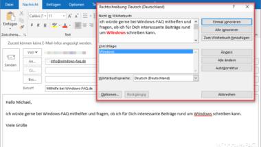 Rechtschreibprüfung bei Outlook aktivieren
