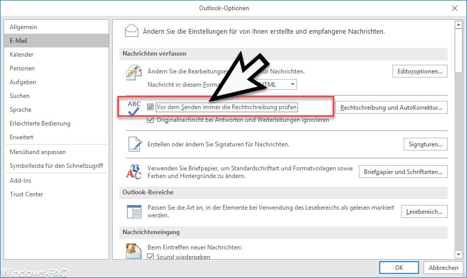 Outlook 2016 und Office 365 - Vor dem Senden immer die Rechtschreibung prüfen