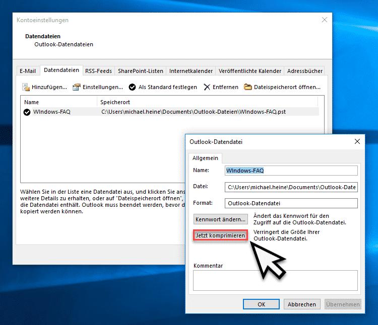 Outlook PST Datei komprimieren