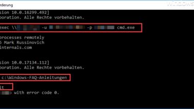 Eingabeaufforderung auf Remote Windows PC mit PsExec öffnen